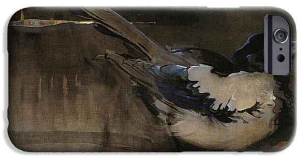 Magpies iPhone Cases - The Magpie iPhone Case by Joseph Crawhall