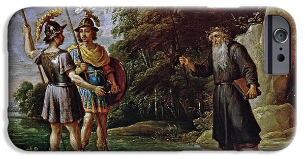 Young Paintings iPhone Cases - The Magus reveals Rinaldos whereabouts to Charles and Ubaldo iPhone Case by David Teniers the Younger