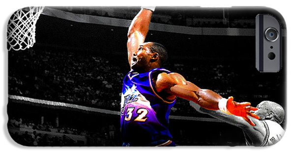John Stockton iPhone Cases - The Mailman Carl Malone Delivery iPhone Case by Brian Reaves