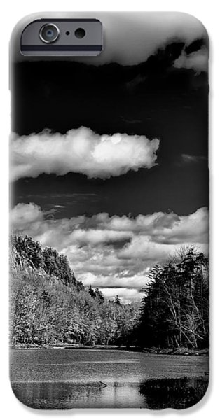 Monotone iPhone Cases - The Majestic Bald Mountain Pond  iPhone Case by David Patterson