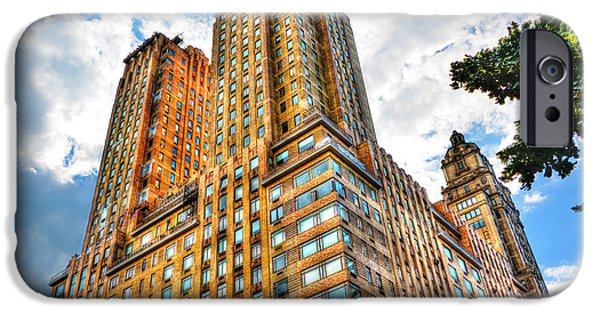 Twin Towers Nyc iPhone Cases - The Majestic Building Central Park West iPhone Case by Randy Aveille