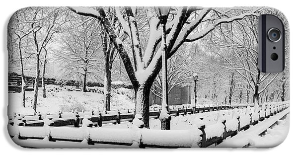Wintertime iPhone Cases - The Mall At NYC Central Park iPhone Case by Susan Candelario