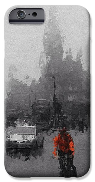 City Scape Digital Art iPhone Cases - The Man on the bicycle iPhone Case by Stefan Kuhn