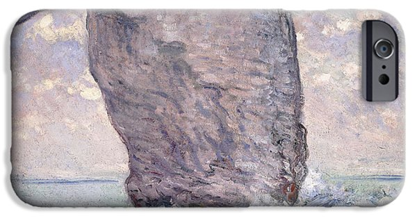 Nineteenth Century iPhone Cases - The Manneporte seen from Below iPhone Case by Claude Monet