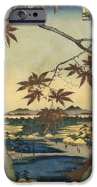 Japan Town iPhone Cases - The Maple Leaves of Mama iPhone Case by Utagawa Hiroshige