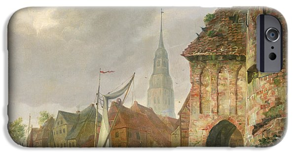 Sailboats In Harbor iPhone Cases - The March Gate in Buxtehude iPhone Case by Adolph Kiste