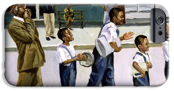 African American Paintings iPhone Cases - The Marching Band iPhone Case by Colin Bootman