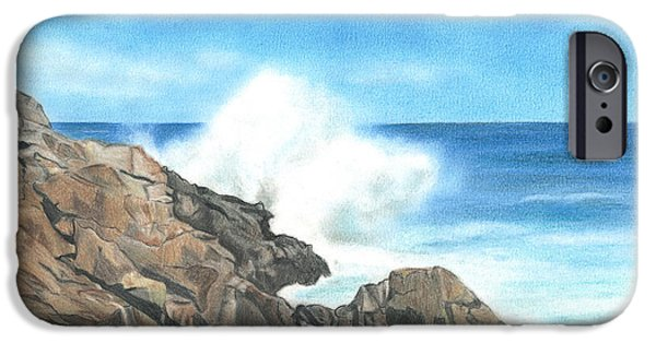 Maine Drawings iPhone Cases - The Marginal Way iPhone Case by Troy Levesque