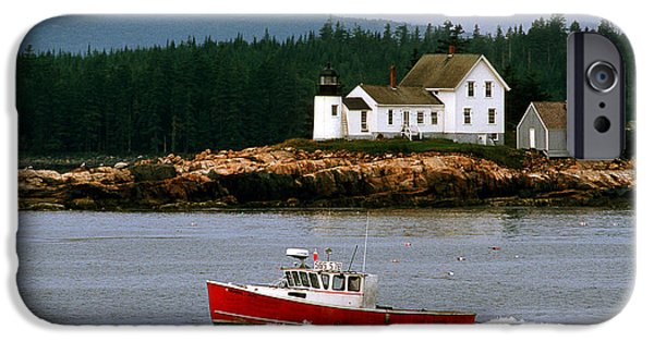 New England Lighthouse iPhone Cases - The Mark Island Light iPhone Case by James L. Amos