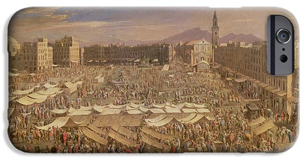 Crowd iPhone Cases - The Market At Naples Oil On Canvas iPhone Case by Angelo Maria Costa