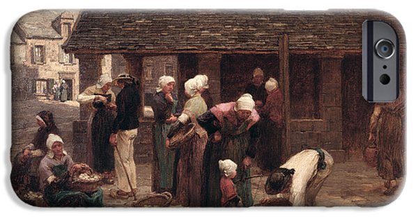 Gathering Photographs iPhone Cases - The Market Place Of Ploudalmezeau, Brittany, 1877 Oil On Canvas iPhone Case by Leon Augustin Lhermitte