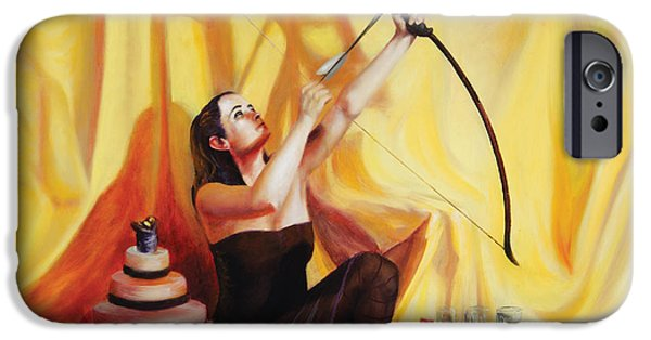 Archetype Paintings iPhone Cases - The Markswoman iPhone Case by Shelley  Irish