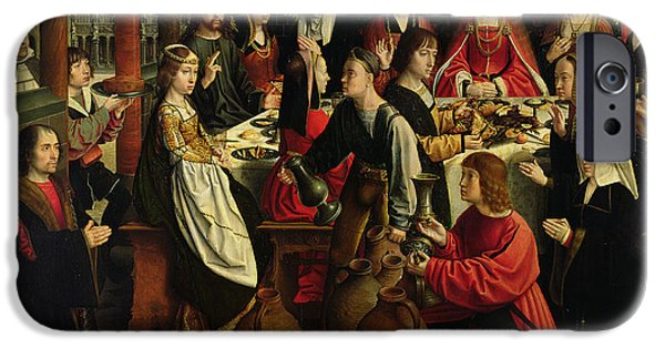 Miracle Photographs iPhone Cases - The Marriage Feast At Cana, C.1500-03 Oil On Panel iPhone Case by Gerard David
