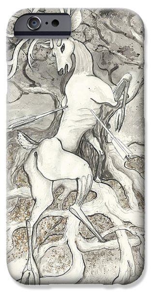 Tree Roots Drawings iPhone Cases - The Martyr iPhone Case by Melinda Dare Benfield