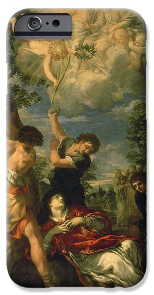 D.c. iPhone Cases - The Martyrdom Of Saint Stephen, 1660 Oil On Canvas iPhone Case by Pietro da Cortona