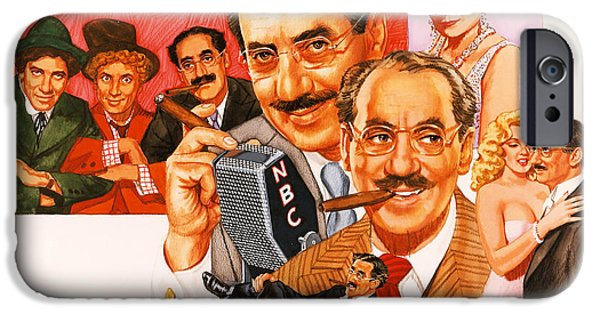 Comedian iPhone Cases - The Marx Brothers iPhone Case by Dick Bobnick