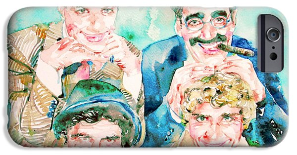 Chico iPhone Cases - THE MARX BROTHERS / watercolor painting iPhone Case by Fabrizio Cassetta
