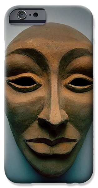 Silver Sculptures iPhone Cases - The Mask  iPhone Case by FL collection