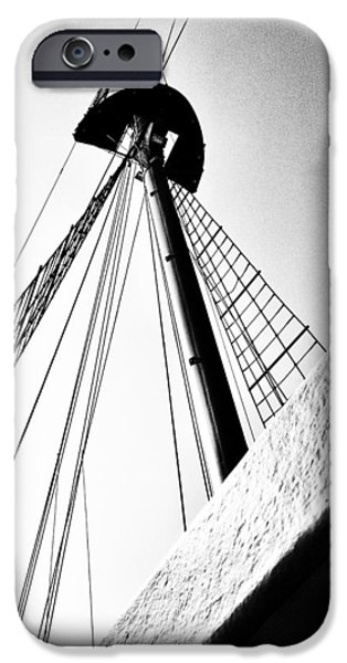 Tall Ship Digital iPhone Cases - The Mast of the Peacemaker iPhone Case by Natasha Marco