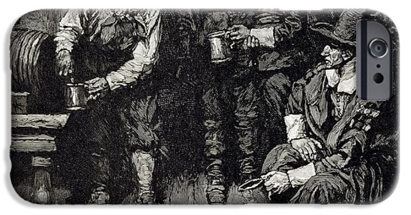 Tankard iPhone Cases - The Master Caused Us To Have Some Beere, From Harpers Magazine, 1883 Litho iPhone Case by Howard Pyle