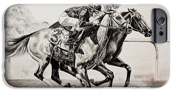 Horse Racing Drawings iPhone Cases - The Matched Race iPhone Case by Carolyn Valcourt