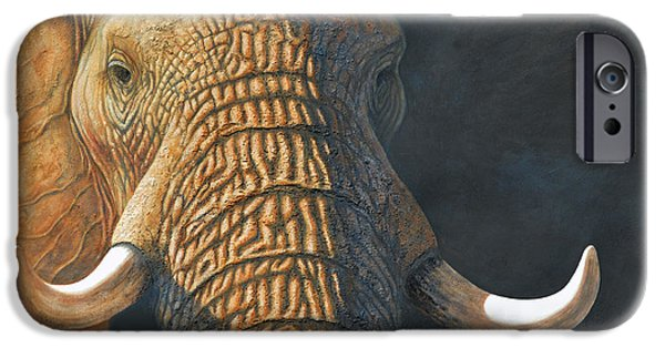 Elephants Pastels iPhone Cases - The Matriarch elephant portrait iPhone Case by David Clode