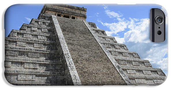 Ruins Pyrography iPhone Cases - The Mayan Pyramid of Chichen Itza iPhone Case by Yoshiko Wootten