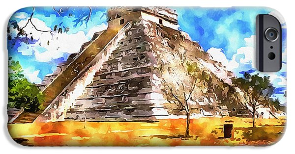 Painter Photo Photographs iPhone Cases - The Mayan Temple iPhone Case by Mario Carini