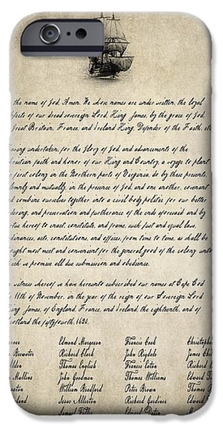 Constitution iPhone Cases - The Mayflower Compact Aged  1620 iPhone Case by Daniel Hagerman