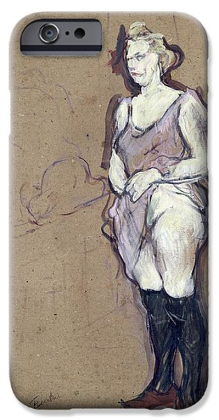 Model iPhone Cases - The Medical Inspection Blonde Prostitute, 1894 Oil On Card iPhone Case by Henri de Toulouse-Lautrec