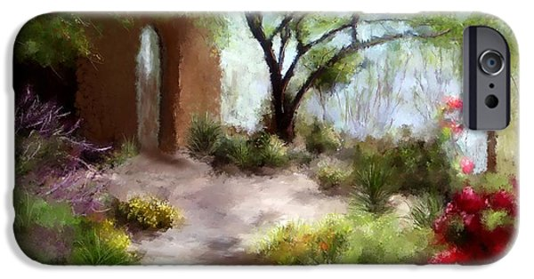 Sedona Paintings iPhone Cases - The Meditative Garden  iPhone Case by Colleen Taylor