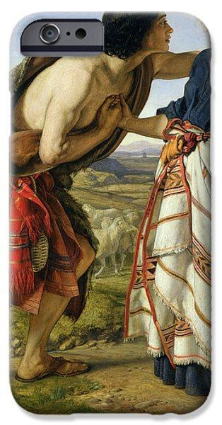 Love The Animal iPhone Cases - The Meeting of Jacob and Rachel iPhone Case by William Dyce