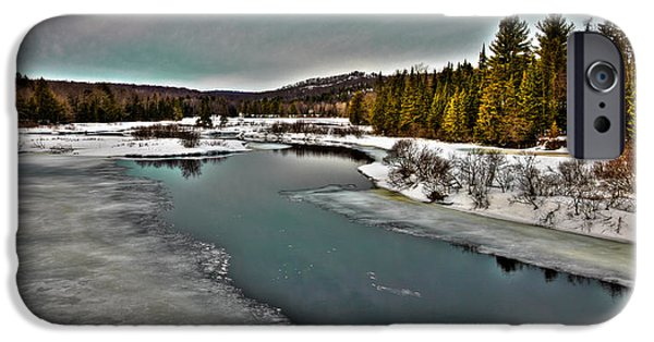 Snow Scene iPhone Cases - The Melting of the Moose River in the Adirondacks iPhone Case by David Patterson