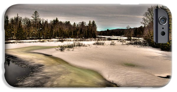 Snow Scene iPhone Cases - The Melting of the Moose River - Old Forge New York iPhone Case by David Patterson