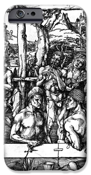 Pen And Ink iPhone Cases - The Mens Bath iPhone Case by Albrecht Durer or Duerer