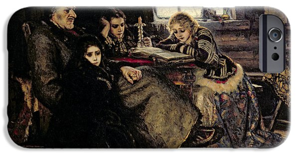 Cabin Interiors iPhone Cases - The Menshikov Family In Beriozovo, 1883 Oil On Canvas iPhone Case by Vasilij Ivanovic Surikov