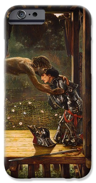 Christ Artwork iPhone Cases - The Merciful Knight iPhone Case by Edward Burne-Jones