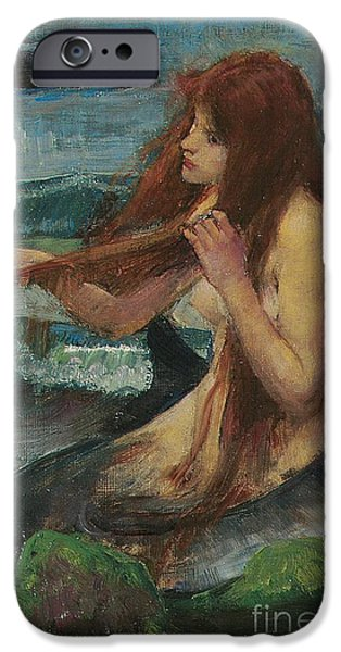 Pre-raphaelites iPhone Cases - The Mermaid iPhone Case by John William Waterhouse