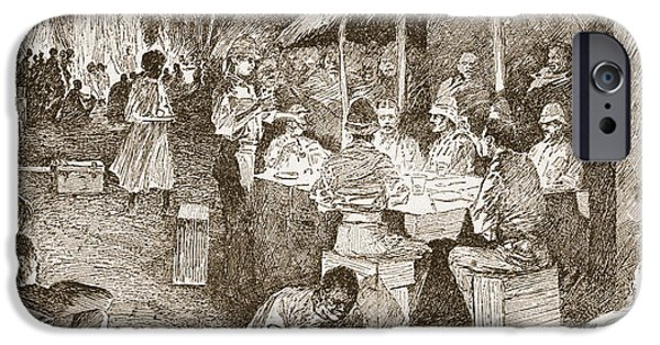 Forest Drawings iPhone Cases - The Mess Table In The Forest iPhone Case by Henry Charles Seppings Wright