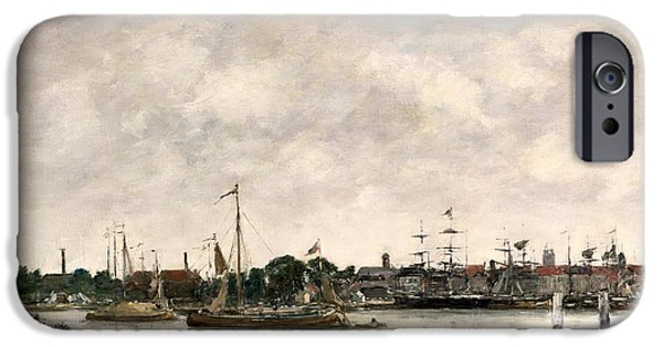 Boats At The Dock iPhone Cases - The Meuse at Dordrecht iPhone Case by Eugene Louis Boudin