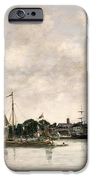 The Meuse at Dordrecht iPhone Case by Eugene Louis Boudin