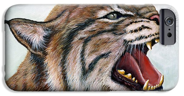 Bobcats Paintings iPhone Cases - The Mighty Roar iPhone Case by Jeff Conway