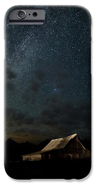 Travel Photographs iPhone Cases - The milky way on Moulton Barn - Grand Teton National Park iPhone Case by Andres Leon
