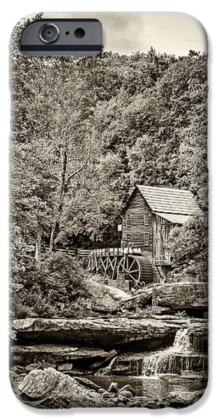 Grist Mill iPhone Cases - The  Mill at Babcock sepia iPhone Case by Steve Harrington