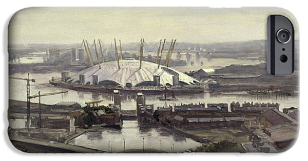 Building Site iPhone Cases - The Millennium Dome From Canary Wharf Oil On Canvas iPhone Case by Julian Barrow