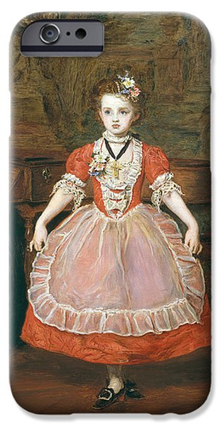 Piano iPhone Cases - The Minuet Oil On Panel iPhone Case by Sir John Everett Millais