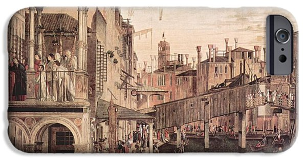 Miracle iPhone Cases - The Miracle of the Relic of the Cross at the Ponte di Rialto iPhone Case by Vittore Carpaccio