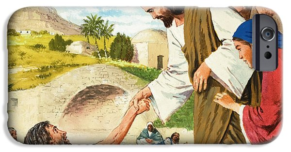 Son Of God Paintings iPhone Cases - The Miracles of Jesus  Making the Lame Man Walk iPhone Case by Clive Uptton