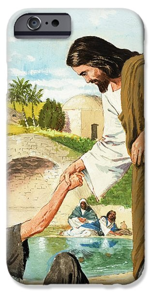 The Miracles of Jesus  Making the Lame Man Walk iPhone Case by Clive Uptton