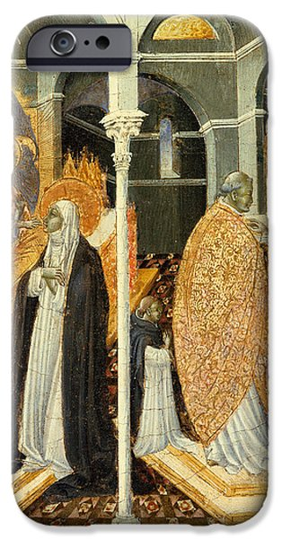 Saint Catherine iPhone Cases - The Miraculous Communion of Saint Catherine of Siena iPhone Case by Giovanni di Paolo